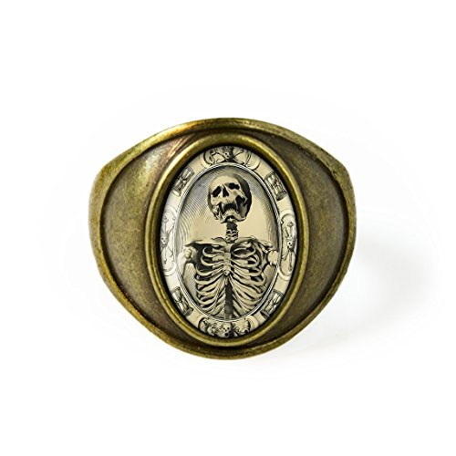 Antique Bronze Victorian Memento Mori Skeleton Ring Size 7
