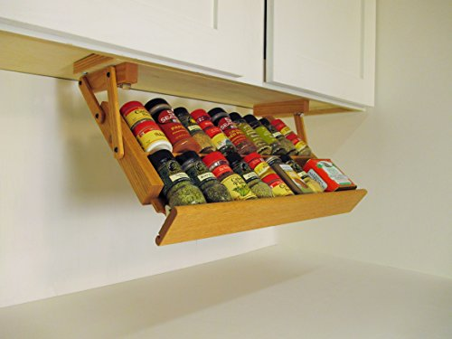 Ultimate Kitchen Storage Under Cabinet Mounted Spice Rack, Handmade Hardwood, Holds 16 Large or 32 Small Spice Containers