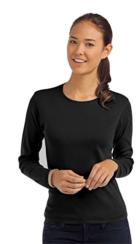 Maglia Maniche Lunghe Donna Cotone 185Gr Stedman Comfort Maglietta Manica Lunga, Colore: Nero, Taglia: M