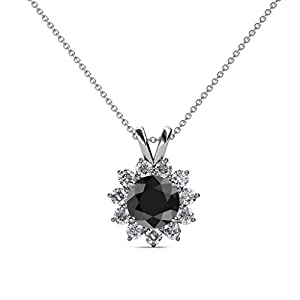 Black and White Diamond Floral Halo Pendant 1.28 ct tw in 14K White Gold with 18 Inches 14K Gold Chain