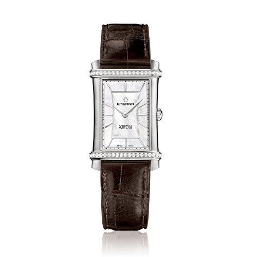Eterna 2410.48.66.1199 Montre bracelet Femme, Cuir, couleur: noir