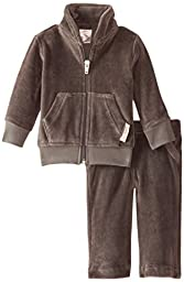 L\'ovedbaby Unisex-Baby Newborn Organic Cotton Velour Track Suit, Gray, 3-6 Months