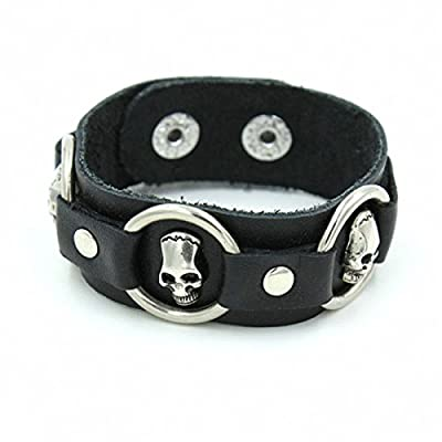 Modern Fantasy Fashion Style Three Stainless-Steel Circle Studded Classical Black Adjustable Length Leather Wrap bracelet