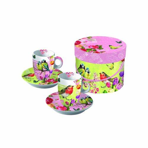 Paperproducts Design Gift Box Demitasse/Espresso Cups, Vintage Robin And Rose, Set Of 2