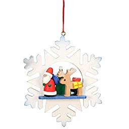 10-0551 - Christian Ulbricht Ornament - Santa with Reindeer in Snowflake - 3.5\