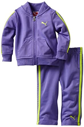 Puma - Kids Baby-girls Infant Tricot Track Jacket And Pant Set, Purple, 12 Months