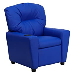 MFO Contemporary Blue Vinyl Kids Recliner with Cup Holder