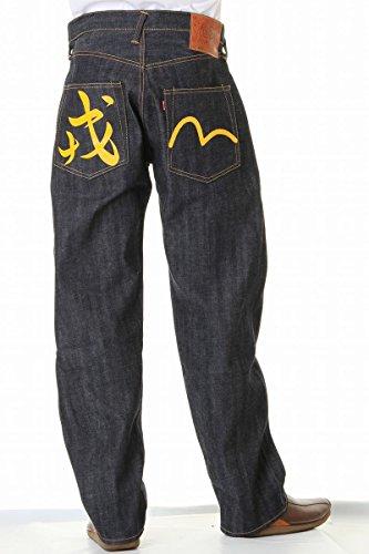 EVISU JEANS(エヴィス ジーンズ)NO2 2001 38~42in 戎&カモメ 4カラー リラックス ストレート ヴィンテージデニム エビス えびす evisu jeans (38in(ウエスト96cmヒップ113cm), イエロー)