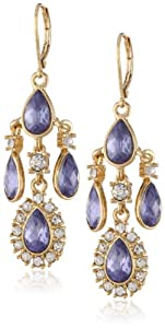 "Anne Klein ""Pure Romance"" Gold-Tone Crystal Purple Chandelier Drop Earrings"