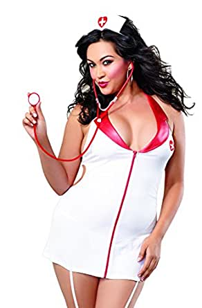 Dreamgirl Women's Plus-Size Sexy Nurse Naughty Lingerie Costume Set