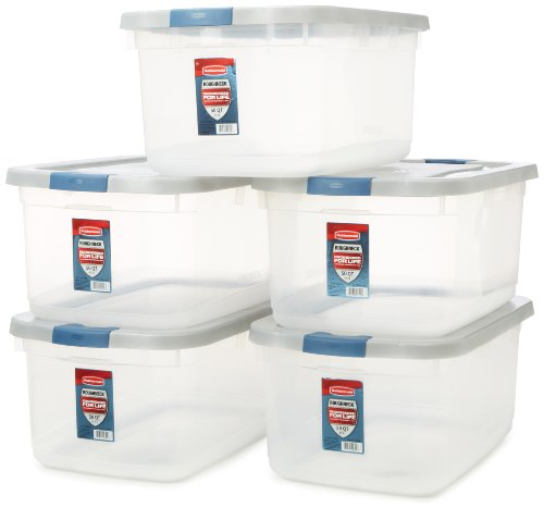 Rubbermaid Roughneck Clear Storage Container, 50 qt., Clear Base (1192), Pack of 5 (Plastic Lid Large compare prices)
