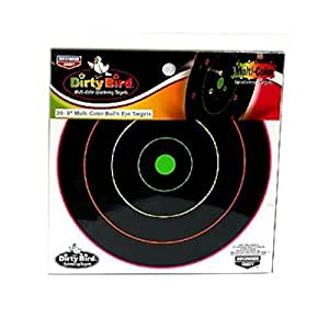 Birchwood Casey Dirty Bird Multi-Color 8-Inch Bull's-Eye Targets, 20 Sheet Pack