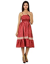 Ethnic Red Floral Dress Polyester Printed Medium For Women By Rajrang