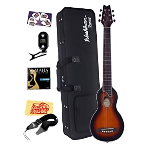 Washburn RO10TSB Rover Steel String Travel Acoustic Guitar Bundle with Case, Tuner, Strings, Strap, Instructional CD-ROM, Pick Card, and Polishing Cloth - Tobacco Sunburst