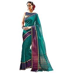 Lemoda Designer Dark Green Lace Border Work Cotton Saree MMUKE30902118190-70000047