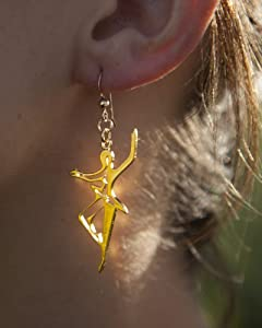 Dancer for Peace Delicate Gold Dipped Earrings on French Hooks