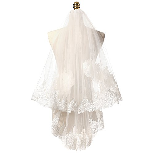 KAY&LAYLA 2T 2 Tiers Lace Wedding Veils Lace Veils with Comb Ivory