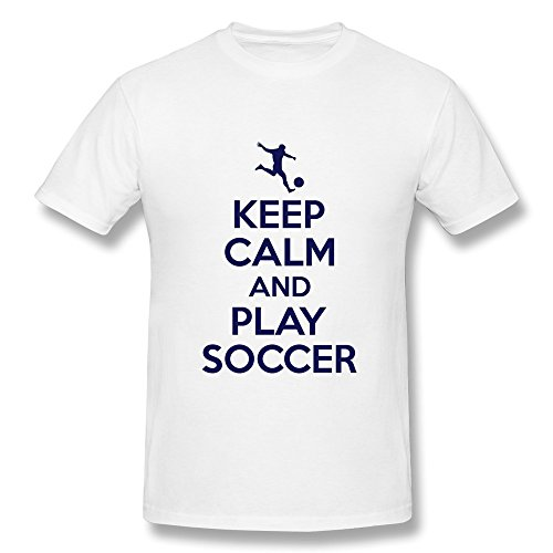 100% Cotton Vintage Keep Calm Play Soccer Tee For Guy'S - Round Neck front-866703