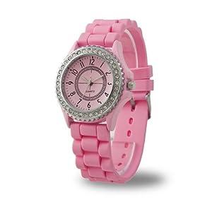 YKS Pink Luxury Stylish Classic Gel Silicone Crystal Men Lady Jelly Watch