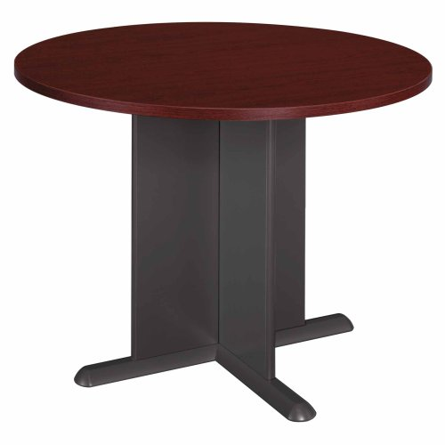 Bush Furniture Round Conference Table, Mahogany