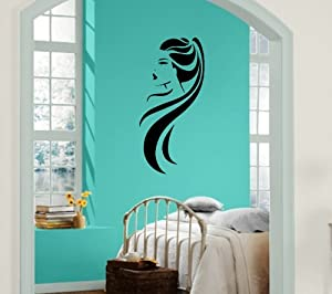 Hot girl ponytail long hair beauty salon decor wall mural vinyl s - Decoration mural salon ...