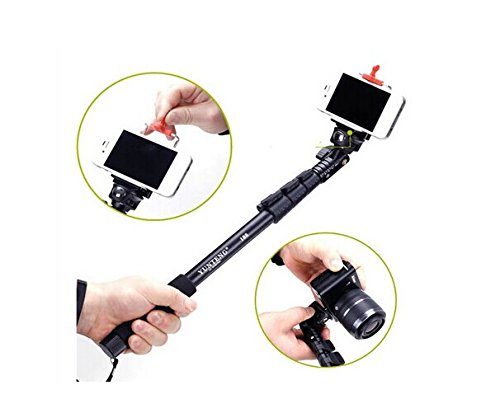 "Masione™ Black Professional Extendable Handheld Self-Portrait Stick Monopod Telescoping Pole (16.7""-48"") With Universal Adajustable Smartphone Adapter Holder For Gopro 1 2 3 3+/ Digital Camera/ Cellphone"
