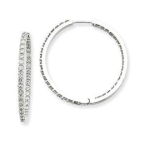 Christmas Sale -14k White Gold Diamond Hoop Earrings - Excellent Gift