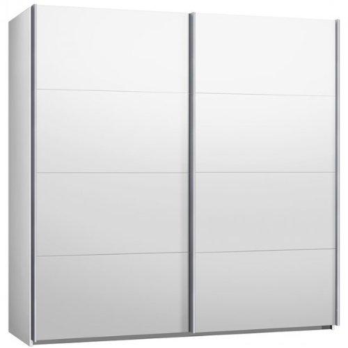 Schwebeturenschrank, B/H/T 225 / 220 / 69 cm, Weiß, Kleiderschrank, Schiebeturenschrank