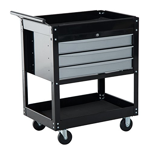 HomCom 3-Drawer Top Storage Rolling Tool Chest Cart – Black