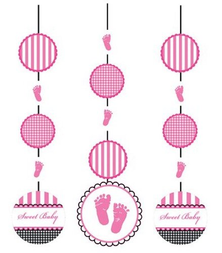 Creative Converting Sweet Baby Feet Pink Hanging Cutout Party Decorations, 3-Count - 1
