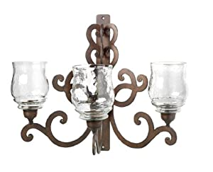 Large Wall Sconce Candle Holder : Amazon.com: Large Wall Hanging Sconce With Three Candle Holders: Home & Kitchen