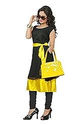 Sui Dhaga BLACK_YELLOW_KURTI-1 Cotton Material Black nad Yellow Coloured Kurti