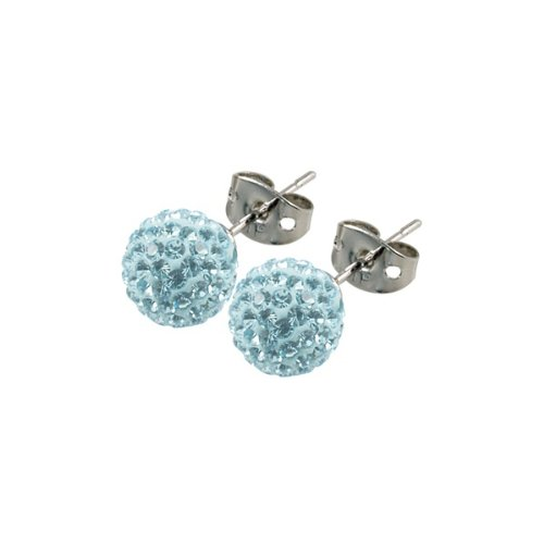 Tresor Paris Donnay Light Blue Crystal Earrings 8mm