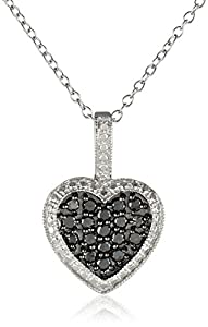 Sterling Silver and Black Diamond Heart Pendant Necklace (1/2 cttw), 18