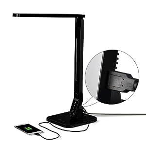 TaoTronics Elune TT-DL01 - Lámpara LED de escritorio con 4 modos de iluminación lectura/estudio/relajamiento/sueño, 5 niveles de brillo, USB puerto de carga, color negro