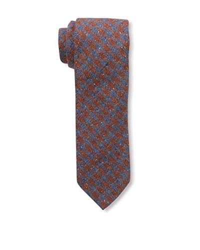 J. McLaughlin Men's Plaid Tie, Blue/Orange