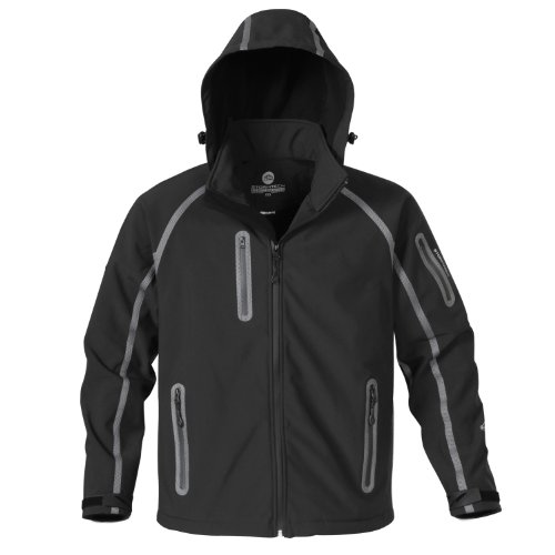 Men's Waterproof Raglan Sleeves Bonded Shell Jackets Colour=Black/Granite Size=Large