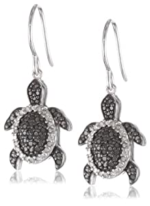 Silver Turtle Black and White Diamond Earrings (0.50 cttw, I-J Color, I2-I3 Clarity)
