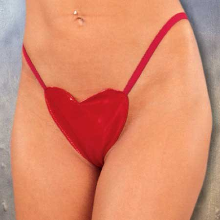 Patent PVC Heart G-String Elastic Back Color Red Only One Size