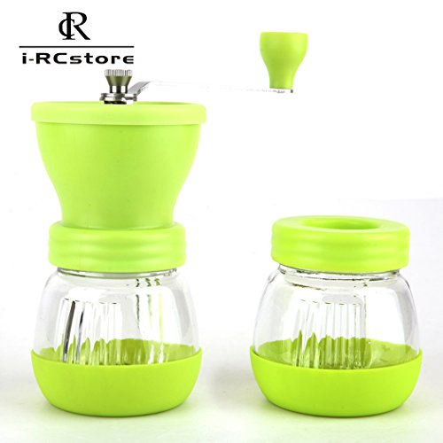 Lowest Price! RC Manual Ceramic Burr Coffee Grinder, Hand-crank Coffee Mill (Green)