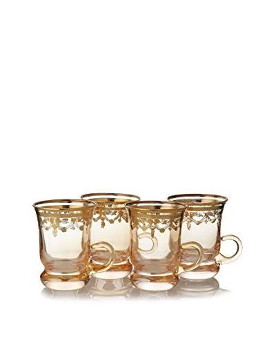 A Casa K Set of 4 Crystal & 18 Ct. Gold 3.75-Oz. Tea Cup & Saucers, Gold