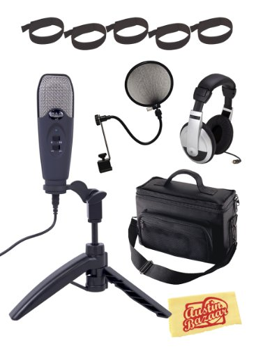 CAD U3 Limited Edition USB Studio Recording Microphone Bundle with Padded Mic Bag, Headphones, Velcro Cable Ties, Pop Filter, and Polishing Cloth – Midnight Blue