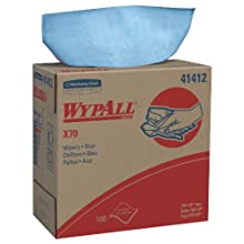 "Kimberly-Clark WypAll 41412 Disposable X70 Wiper, 9.1"" Width x 16.8"" Length, Blue (10 Boxes of 100)"