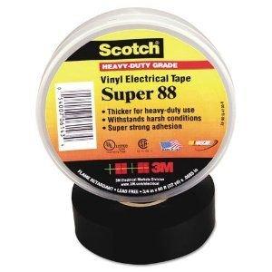 "3M Scotch Super 88 Vinyl Premium Grade Electrical Tape, -18 To 105 Degree C, 10000 V Dielectric Strength, 44' Length X 1-1/2"" Width, Black"