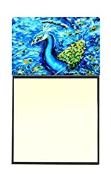 Caroline\'s Treasures Peacock Straight Up in Blue Refillable Sticky Note Holder or Postit Note Dispenser, 3.25 by 5.5\