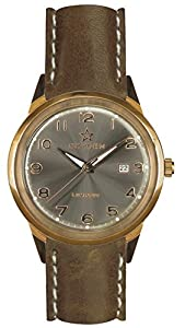 Oxygen Panama 40 Unisex Quartz Watch with Grey Dial Analogue Display and Brown Leather Strap EX-SV-PAN-40-CL-LB
