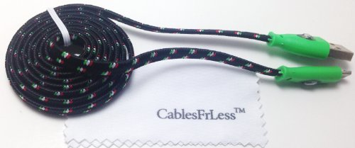 Cablesfrless 3Ft Color Changing Light Up High Quality Braided Noodle Micro Usb B Charging / Data Sync Cable Fits Most Android Devices (Black)