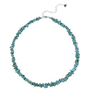 Sterling Silver Blue Turquoise Chip Necklace , 16+3