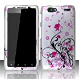 Motorola Droid Razr Maxx XT912M Accessory - Black vines & Pink Lotus Flower Design Protective Hard Case Cover for Verizon