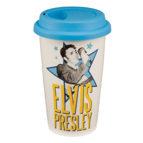Vandor 47551 Elvis Presley 12 oz Double Wall Ceramic Travel Mug with Silicone Lid, White, Blue, Black, and Yellow (Blue White Ceramic Espresso Cups compare prices)